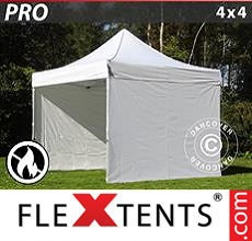 Carpa plegable FleXtents 4x4m Blanco, Ignífuga, Incl. 4 lados