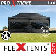 Carpa plegable FleXtents 3x6m Negro, Ignífuga, Incl. 6 lado