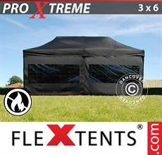 Carpa plegable FleXtents 3x6m Negro, Ignífuga, Incl. 6 lado