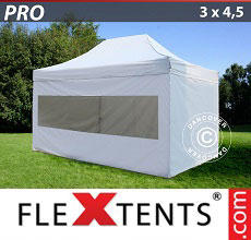Carpa plegable FleXtents 3x4,5m Blanco, Incl. 4 lados