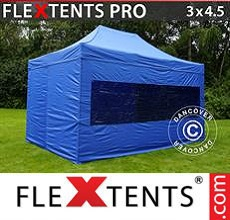Carpa plegable FleXtents 3x4,5m Azul, Incl. 4 lados