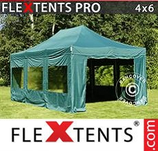 Carpa plegable FleXtents 4x6m Verde, Incl. 8 lados