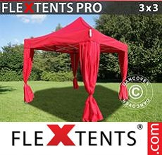 Carpa plegable FleXtents 3x3m Rojo, incluye 4 cortinas decorativas