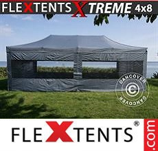 Carpa plegable FleXtents 4x8m Gris, Incl. 6 lados