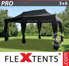 Carpa plegable FleXtents 3x6m Negro, incluye 6 cortinas decorativas