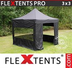 Carpa plegable FleXtents 3x3m Negro, incl. 4 lados