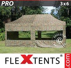 Carpa plegable FleXtents 3x6m Camuflaje, incl. 6 lados