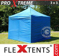 Carpa plegable FleXtents 3x3m Azul, incl. 4 lados