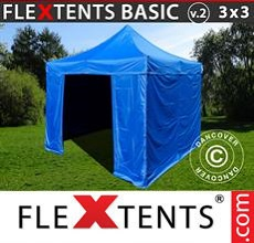Carpa plegable FleXtents 3x3m Azul, incl. 4 lados