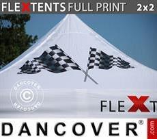 Cubierta de techo impresa con cenefa para carpa plegable FleXtents® PRO 2x2m