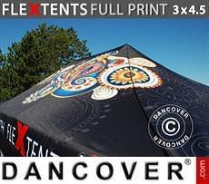 Cubierta de techo impresa con cenefa para carpa plegable FleXtents® PRO 3x4,5m