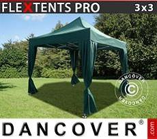 Carpa plegable FleXtents PRO 3x3m Verde, incl. 4 cortinas decorativas