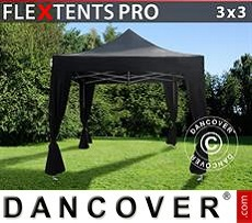 Carpa plegable FleXtents PRO 3x3m Negro, incl. 4 cortinas decorativas