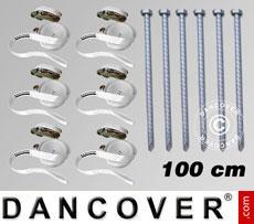 Pack de seguridad 6 (estacas 100cm y cinchas de sujeción), Blanco