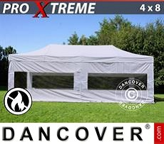 Flextents Carpas Eventos 4x8m Blanco, Ignífuga, Incl. 4 lados