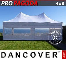 Flextents Carpas Eventos 4x8m Blanco, incluye 6 muros laterales
