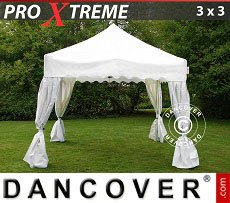 Flextents Carpas Eventos 3x3m Blanco, incl. 4 cortinas...
