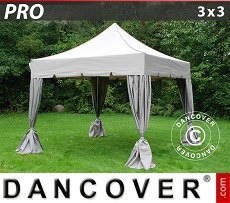 Flextents Carpas Eventos 3x3m Latte, incl. 4 cortinas decorativas