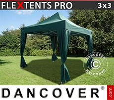 Flextents Carpas Eventos 3x3m Verde, incl. 4 cortinas decorativas