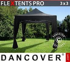 Flextents Carpas Eventos 3x3m Negro, incl. 4 cortinas decorativas