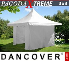 Flextents Carpas Eventos 3x3m / (4x4m) Blanco, Incl. 4 lados