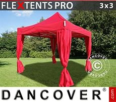 Flextents Carpas Eventos 3x3m Rojo, incluye 4 cortinas decorativas