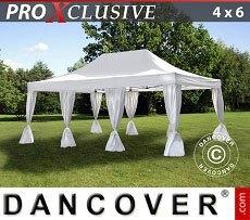 Flextents Carpas Eventos 4x6m Blanco, incl. 8 cortinas decorativas