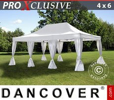 Flextents Carpas Eventos 4x6m Blanco, incl. 8 cortinas decorativas