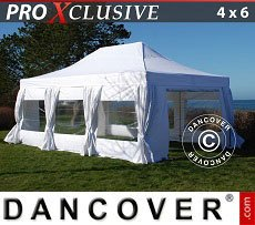 Flextents Carpas Eventos 4x6m Blanco, incl. 8 lados & cortinas decorativas