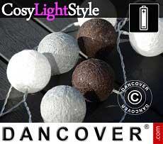 Guirnalda de luces LED con bolas de algodón, Taurus, 30 LEDs, Mezcla de negros