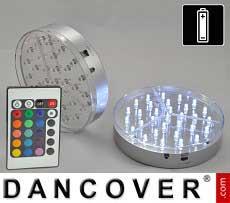 Luz base de LED Ø15cm, 2 uds, Multicoloridas