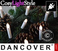 Luces para árbol de navidad, LED, 5m, 20 velas, multifunción, Blanco Cálido
