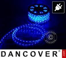 Corda de luces LED, 50m, Ø1,2cm, Multifunción, azul