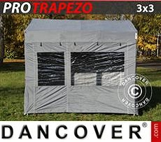 Carpa plegable FleXtents PRO Trapezo 3x3m Gris, Incl. 4 lados