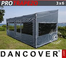 Carpa plegable FleXtents PRO Trapezo 3x6m Gris, Incl. 4 lados