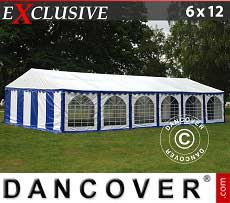 Tendoni Gazebi Party Exclusive 6x12m PVC, Blu/Bianco