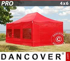 Tendoni Gazebi Party FleXtents PRO 4x6m Rosso, inclusi 8 fianchi
