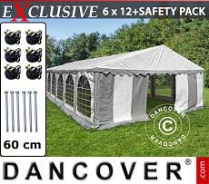 Tendoni Gazebi Party Exclusive 6x12m PVC, Grigio/Bianco