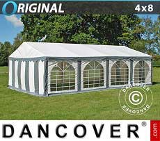Tendoni Gazebi Party Original 4x8m PVC, Grigio/Bianco