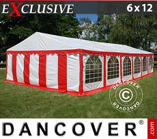 Tendoni Gazebi Party Exclusive 6x12m PVC, Rosso/Bianco