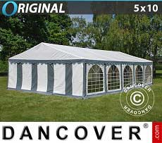 Tendoni Gazebi Party Original 5x10m PVC, Grigio/Bianco