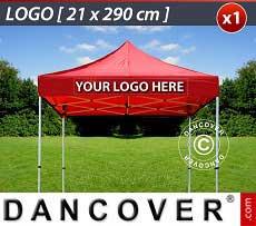 1 Stampa logo 21x290cm sulla frangia del FleXtents, centrata