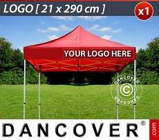 1 Stampa logo 21x290cm sulla frangia del FleXtents, allineata a destra