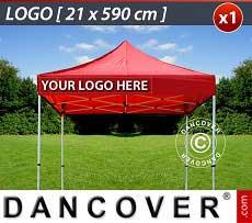 1 Stampa logo 21x590cm sulla frangia del FleXtents, allineata a sinistra
