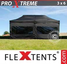 Tenda per racing Xtreme 3x6m Nero, inclusi 6 fianchi