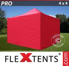 Tenda per racing PRO 4x4m Rosso, inclusi 4 fianchi