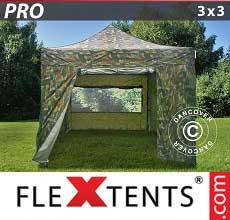 Tenda per racing PRO 3x3m Camouflage, inclusi 4 fianchi