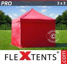 Tenda per racing PRO 3x3m Rosso, inclusi 4 fianchi