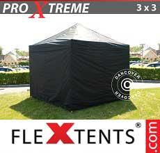 Tenda per racing Xtreme 3x3m Nero, inclusi 4 fianchi