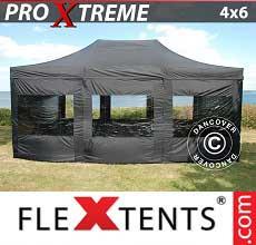 Tenda per racing Xtreme 4x6m Nero, inclusi 8 fianchi